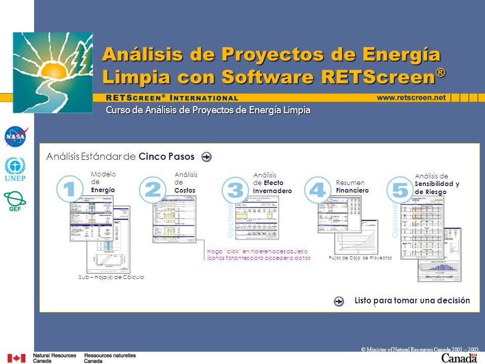 Curso de Análisis de Proyectos de Energía Limpia Análisis de Proyectos de Energía Limpia con Software RETScreen ® © Minister of Natural Resources Cana