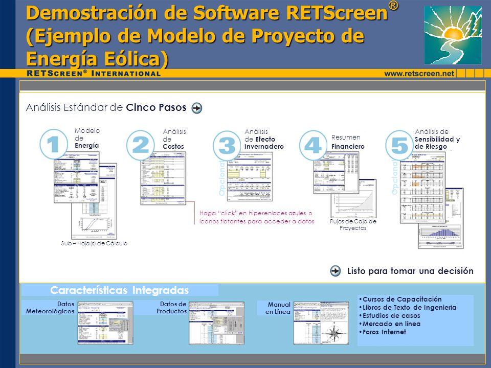 Demostración de Software RETScreen ® (Ejemplo de Modelo de Proyecto de Energía Eólica) Características Integradas Datos Meteorológicos Datos de Produc
