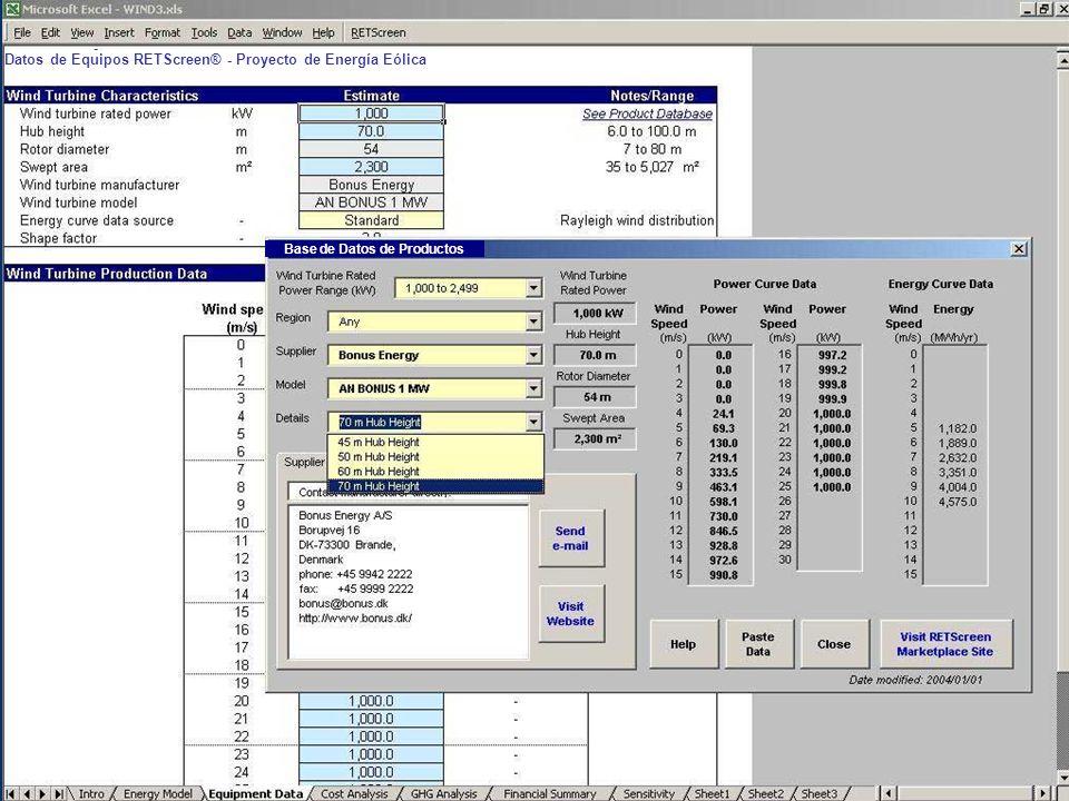 Datos de Equipos RETScreen® - Proyecto de Energía Eólica Base de Datos de Productos