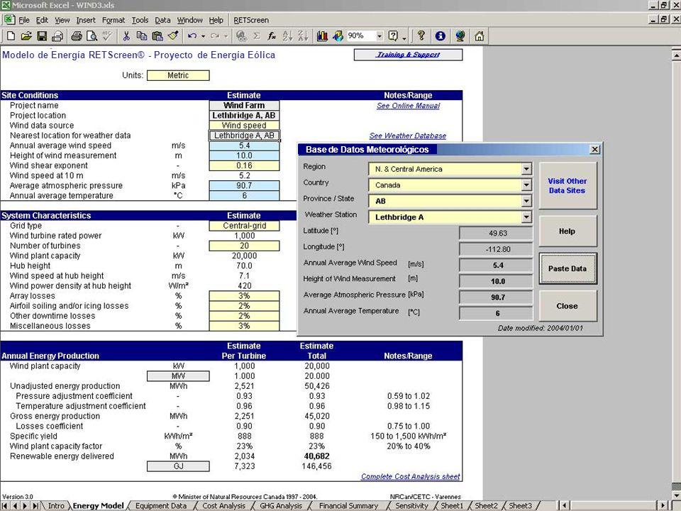 Modelo de Energía RETScreen® - Proyecto de Energía Eólica Base de Datos Meteorológicos