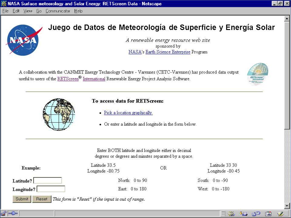 Juego de Datos de Meteorología de Superficie y Energía Solar