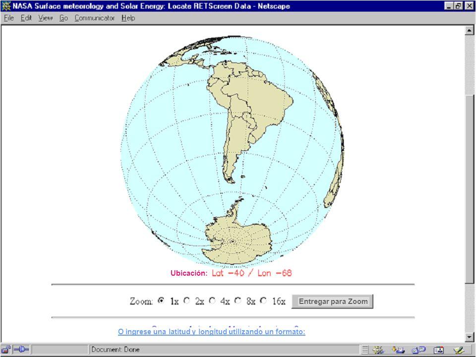 Entregar para Zoom O ingrese una latitud y longitud utilizando un formato: