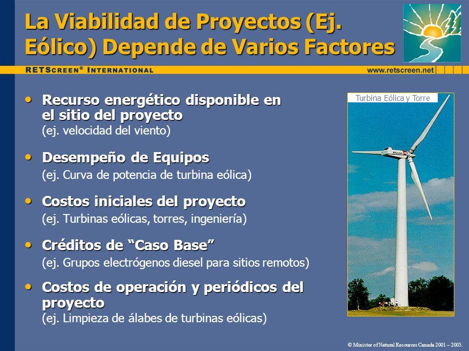 La Viabilidad de Proyectos (Ej. Eólico) Depende de Varios Factores Turbina Eólica y Torre © Minister of Natural Resources Canada 2001 – 2005. Recurso