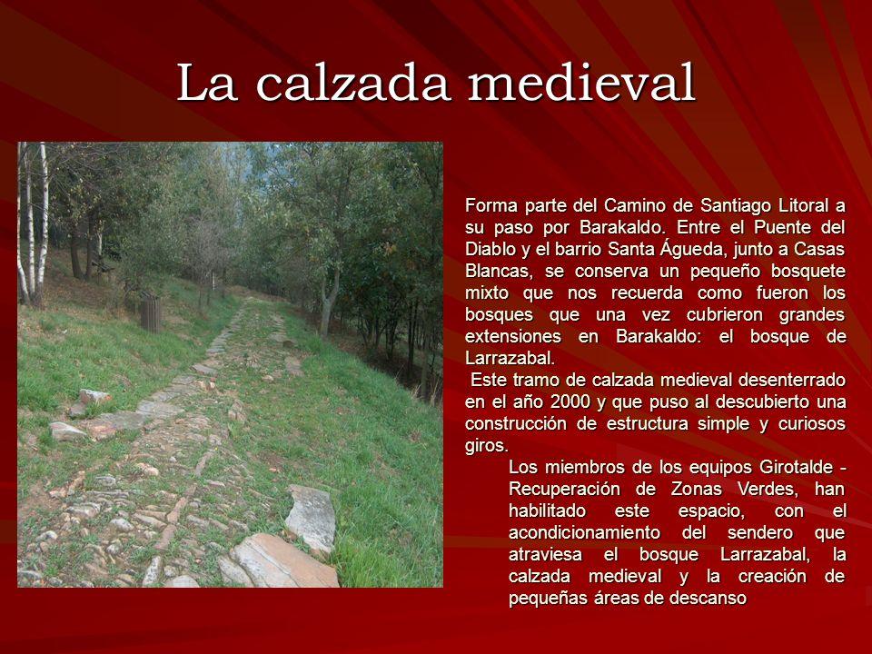 La calzada medieval Forma parte del Camino de Santiago Litoral a su paso por Barakaldo. Entre el Puente del Diablo y el barrio Santa Águeda, junto a C