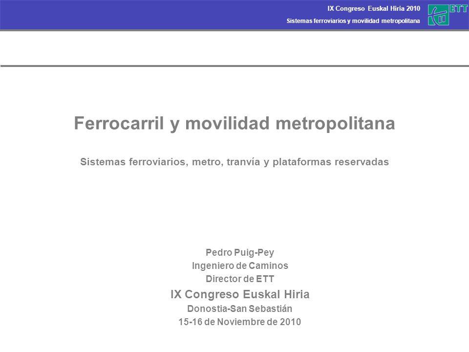 Sistemas ferroviarios y movilidad metropolitana IX Congreso Euskal Hiria 2010 Ferrocarril y movilidad metropolitana Sistemas ferroviarios, metro, tran
