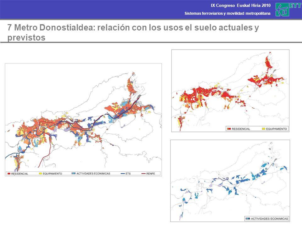 Sistemas ferroviarios y movilidad metropolitana IX Congreso Euskal Hiria 2010 7 Metro Donostialdea: relación con los usos el suelo actuales y previsto