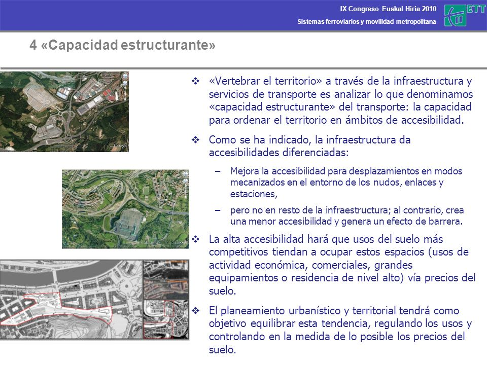 Sistemas ferroviarios y movilidad metropolitana IX Congreso Euskal Hiria 2010 4 «Capacidad estructurante» «Vertebrar el territorio» a través de la inf