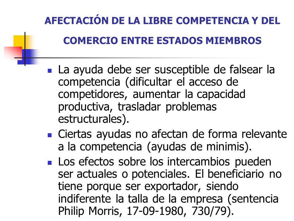 LAS AYUDAS COMPATIBLES CON EL TRATADO DE FORMA IMPERATIVA (ART.107.2) Ayudas de carácter social (art.107.2 a): destinadas a los consumidores individuales y sin discriminación en cuanto al origen de los productos.