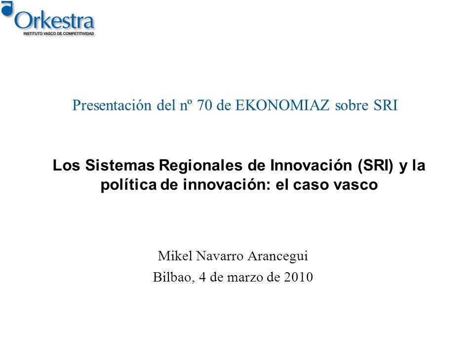Los Sistemas Regionales de Innovación (SRI) y la política de innovación: el caso vasco Mikel Navarro Arancegui Bilbao, 4 de marzo de 2010 Presentación
