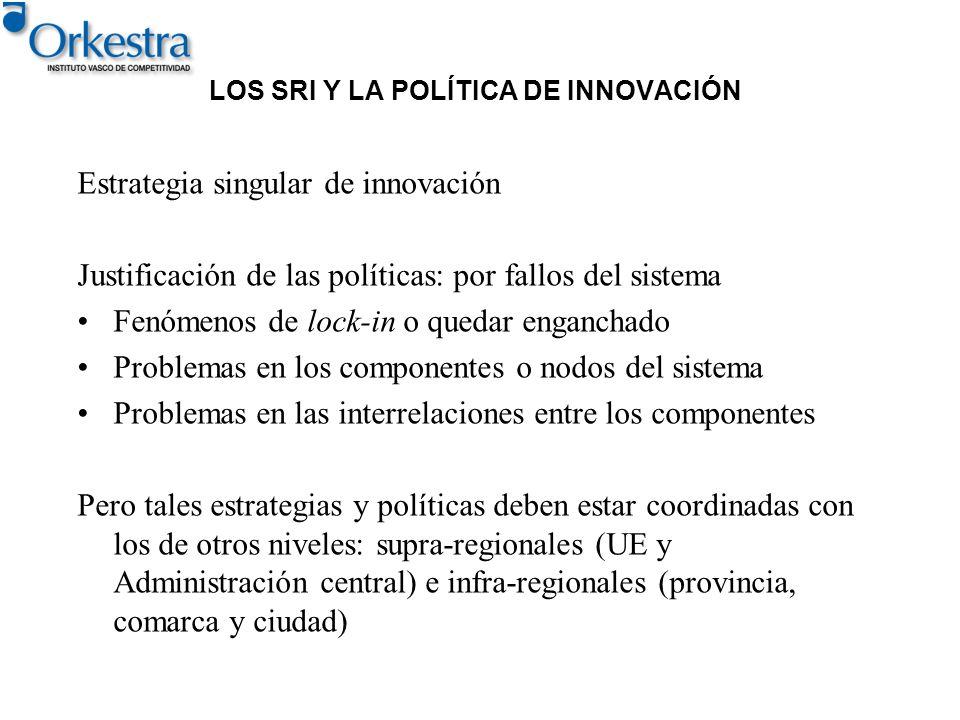 LOS SRI Y LA POLÍTICA DE INNOVACIÓN Estrategia singular de innovación Justificación de las políticas: por fallos del sistema Fenómenos de lock-in o qu