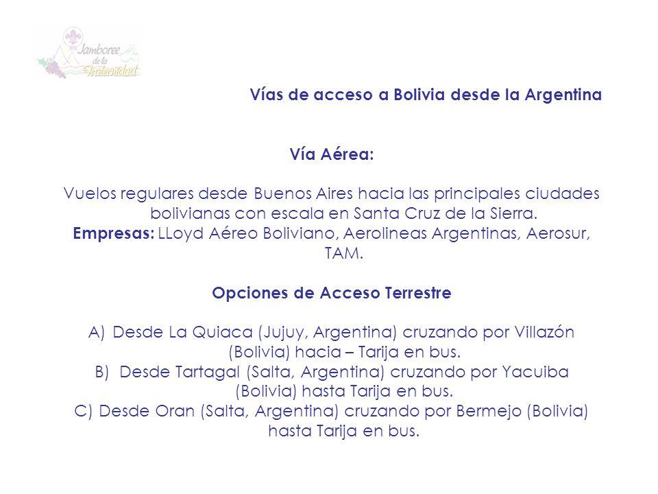 Vías de acceso a Bolivia desde la Argentina Vía Aérea: Vuelos regulares desde Buenos Aires hacia las principales ciudades bolivianas con escala en San