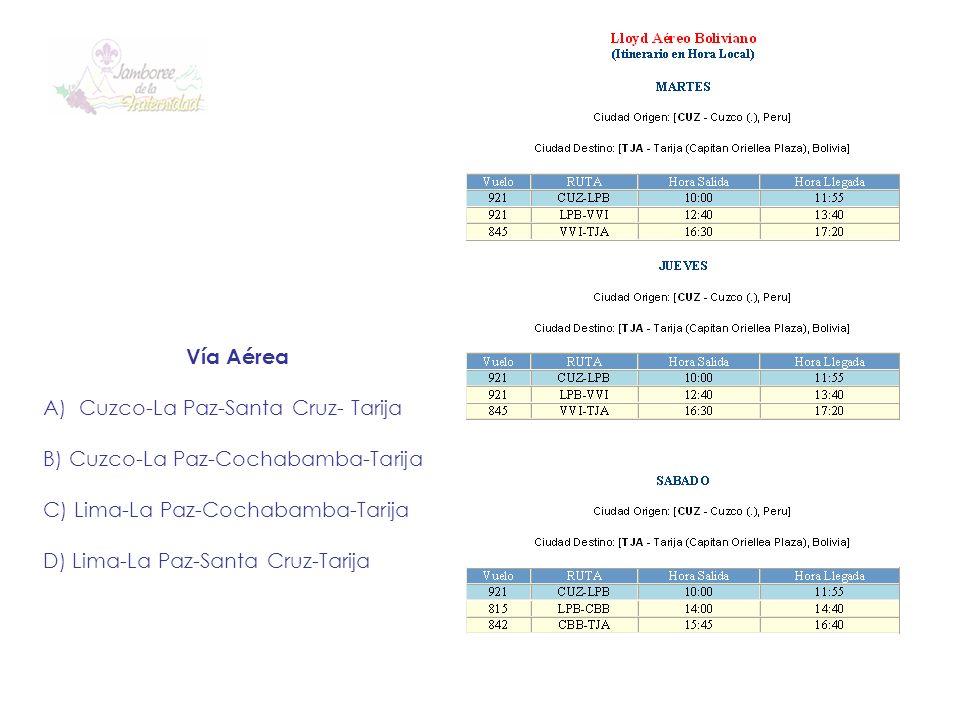 Vía Aérea A)Cuzco-La Paz-Santa Cruz- Tarija B) Cuzco-La Paz-Cochabamba-Tarija C) Lima-La Paz-Cochabamba-Tarija D) Lima-La Paz-Santa Cruz-Tarija