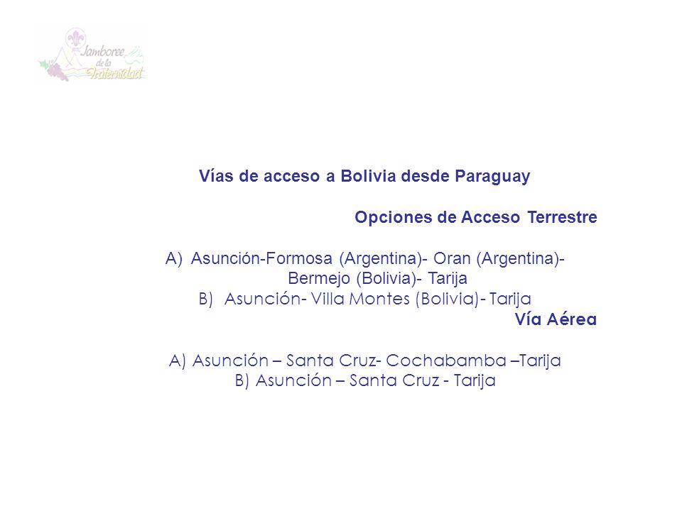 Vías de acceso a Bolivia desde Paraguay Opciones de Acceso Terrestre A)Asunción-Formosa (Argentina)- Oran (Argentina)- Bermejo (Bolivia)- Tarija B)Asu