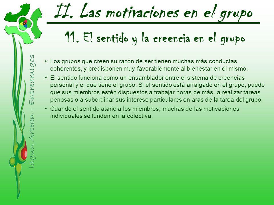 II. Las motivaciones en el grupo 11. El sentido y la creencia en el grupo Los grupos que creen su razón de ser tienen muchas más conductas coherentes,