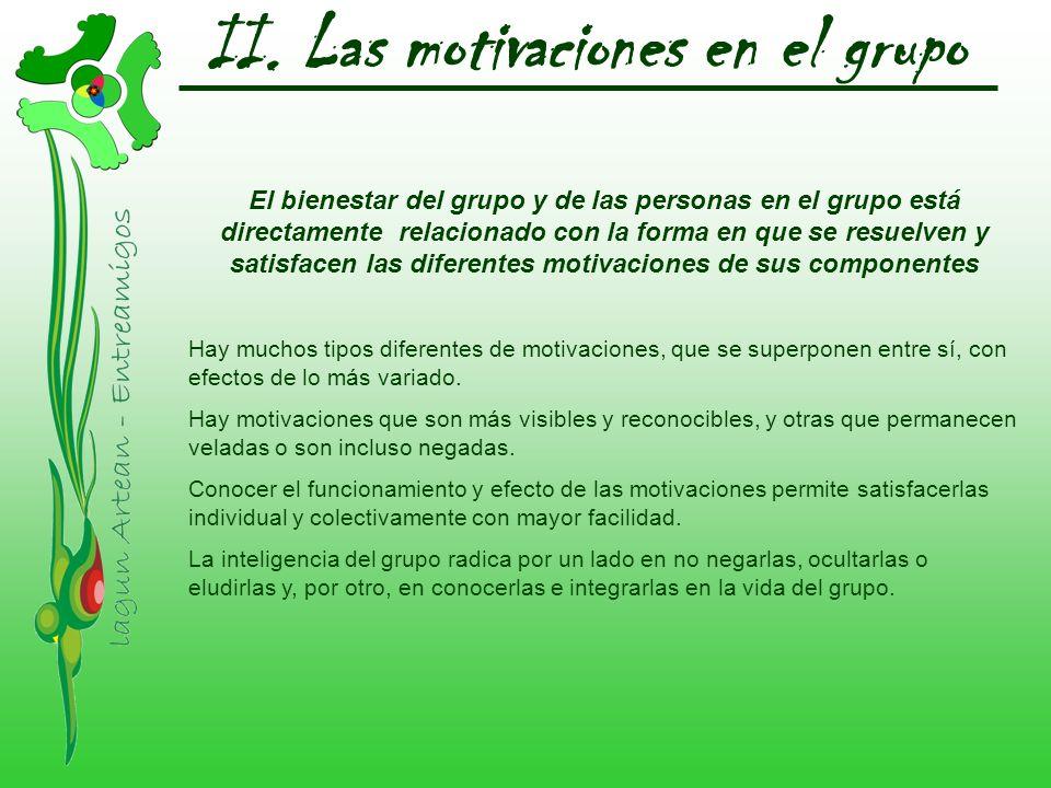 II. Las motivaciones en el grupo El bienestar del grupo y de las personas en el grupo está directamente relacionado con la forma en que se resuelven y