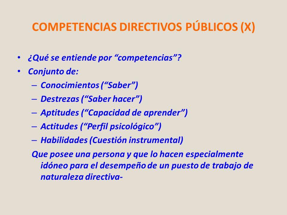 COMPETENCIAS DIRECTIVOS PÚBLICOS (X) ¿Qué se entiende por competencias? Conjunto de: – Conocimientos (Saber) – Destrezas (Saber hacer) – Aptitudes (Ca