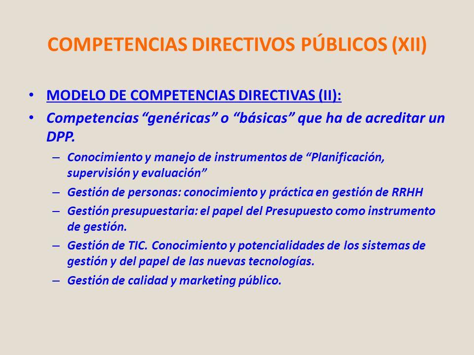 COMPETENCIAS DIRECTIVOS PÚBLICOS (XII) MODELO DE COMPETENCIAS DIRECTIVAS (II): Competencias genéricas o básicas que ha de acreditar un DPP. – Conocimi