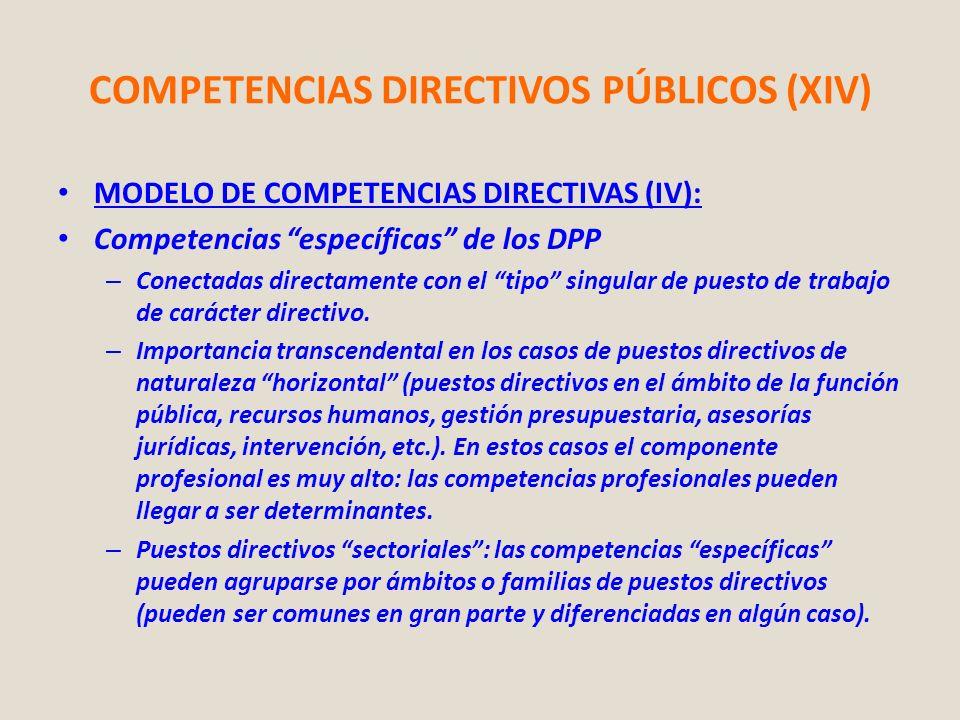 COMPETENCIAS DIRECTIVOS PÚBLICOS (XIV) MODELO DE COMPETENCIAS DIRECTIVAS (IV): Competencias específicas de los DPP – Conectadas directamente con el ti