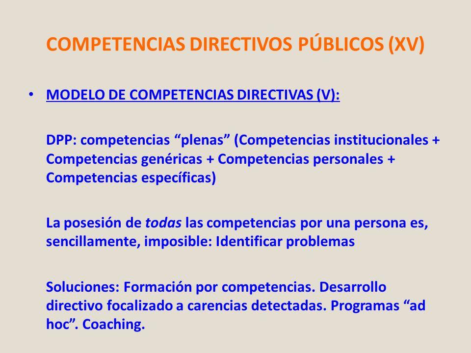 COMPETENCIAS DIRECTIVOS PÚBLICOS (XV) MODELO DE COMPETENCIAS DIRECTIVAS (V): DPP: competencias plenas (Competencias institucionales + Competencias gen