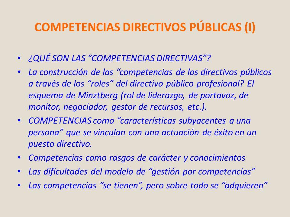 COMPETENCIAS DIRECTIVOS PÚBLICAS (I) ¿QUÉ SON LAS COMPETENCIAS DIRECTIVAS? La construcción de las competencias de los directivos públicos a través de