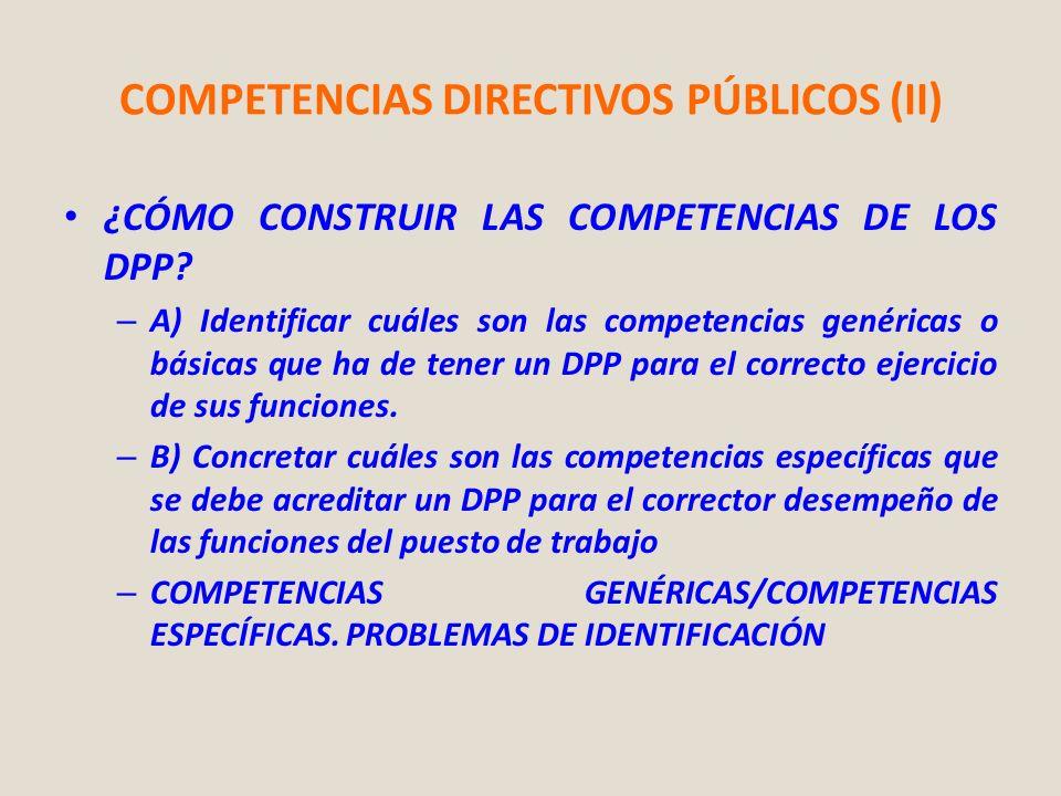 COMPETENCIAS DIRECTIVOS PÚBLICOS (II) ¿CÓMO CONSTRUIR LAS COMPETENCIAS DE LOS DPP? – A) Identificar cuáles son las competencias genéricas o básicas qu