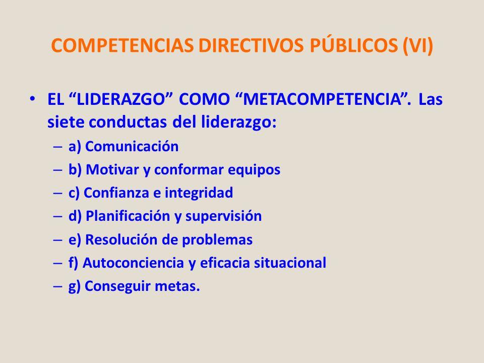 COMPETENCIAS DIRECTIVOS PÚBLICOS (VI) EL LIDERAZGO COMO METACOMPETENCIA. Las siete conductas del liderazgo: – a) Comunicación – b) Motivar y conformar