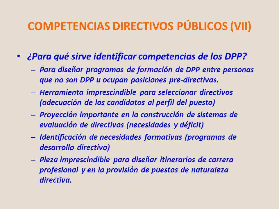 COMPETENCIAS DIRECTIVOS PÚBLICOS (VII) ¿Para qué sirve identificar competencias de los DPP? – Para diseñar programas de formación de DPP entre persona