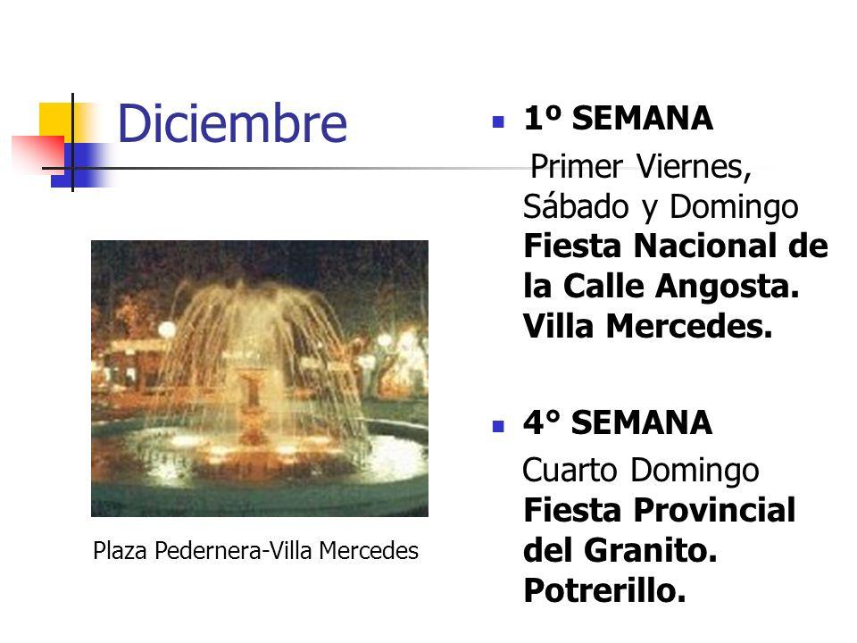 Diciembre 1º SEMANA Primer Viernes, Sábado y Domingo Fiesta Nacional de la Calle Angosta. Villa Mercedes. 4° SEMANA Cuarto Domingo Fiesta Provincial d