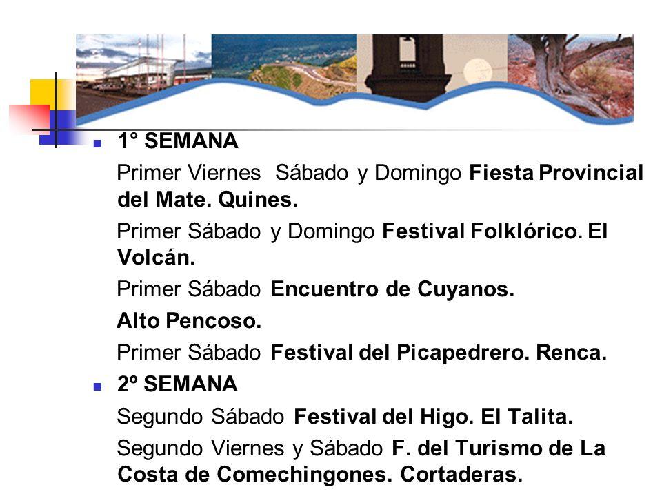 1° SEMANA Primer Viernes Sábado y Domingo Fiesta Provincial del Mate. Quines. Primer Sábado y Domingo Festival Folklórico. El Volcán. Primer Sábado En