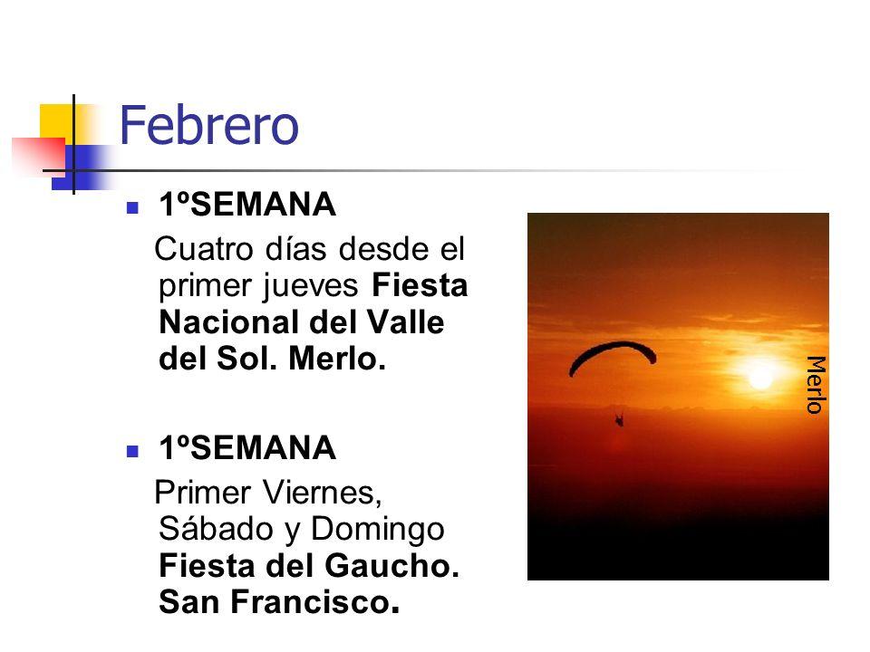 Febrero 1ºSEMANA Cuatro días desde el primer jueves Fiesta Nacional del Valle del Sol. Merlo. 1ºSEMANA Primer Viernes, Sábado y Domingo Fiesta del Gau