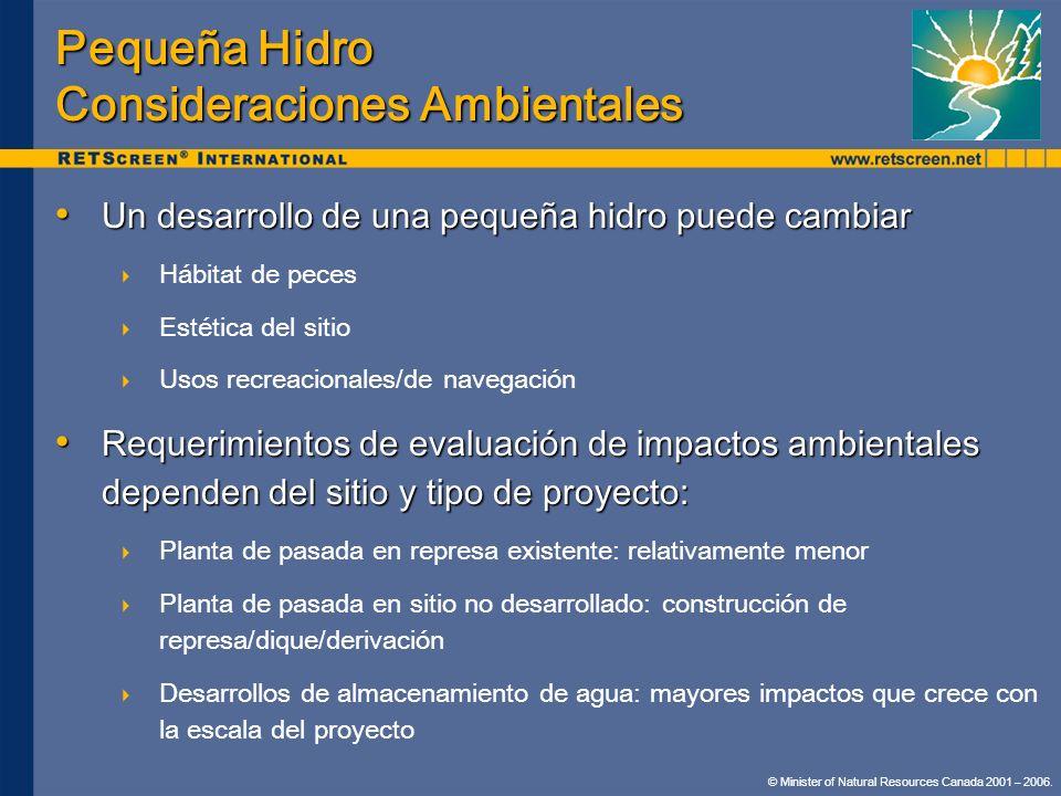 Pequeña Hidro Consideraciones Ambientales Un desarrollo de una pequeña hidro puede cambiar Un desarrollo de una pequeña hidro puede cambiar Hábitat de