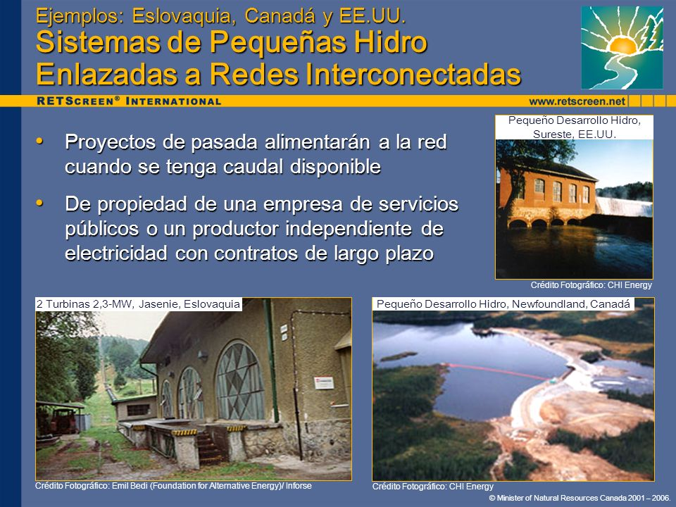 Ejemplos: Eslovaquia, Canadá y EE.UU. Sistemas de Pequeñas Hidro Enlazadas a Redes Interconectadas Proyectos de pasada alimentarán a la red cuando se
