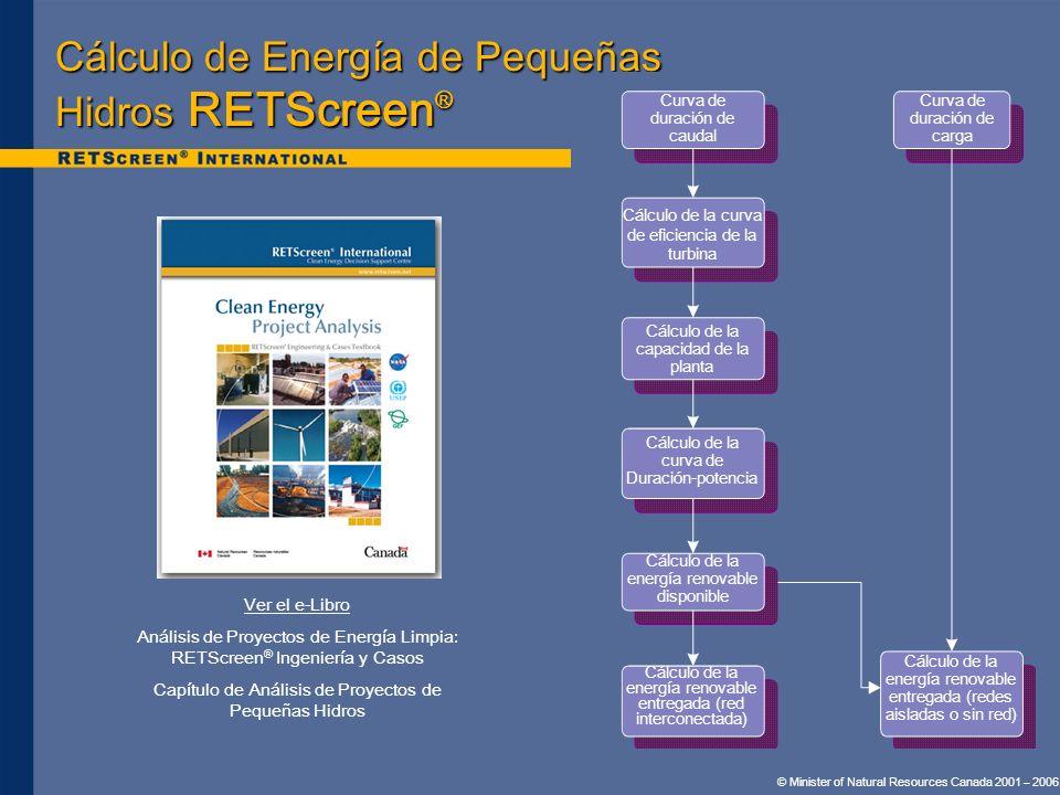 Cálculo de Energía de Pequeñas Hidros RETScreen ® Ver el e-Libro Análisis de Proyectos de Energía Limpia: RETScreen ® Ingeniería y Casos Capítulo de A