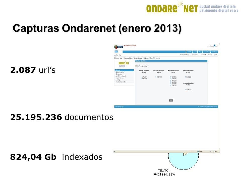 documentos urls 824,04 Gb indexados Capturas Ondarenet (enero 2013)