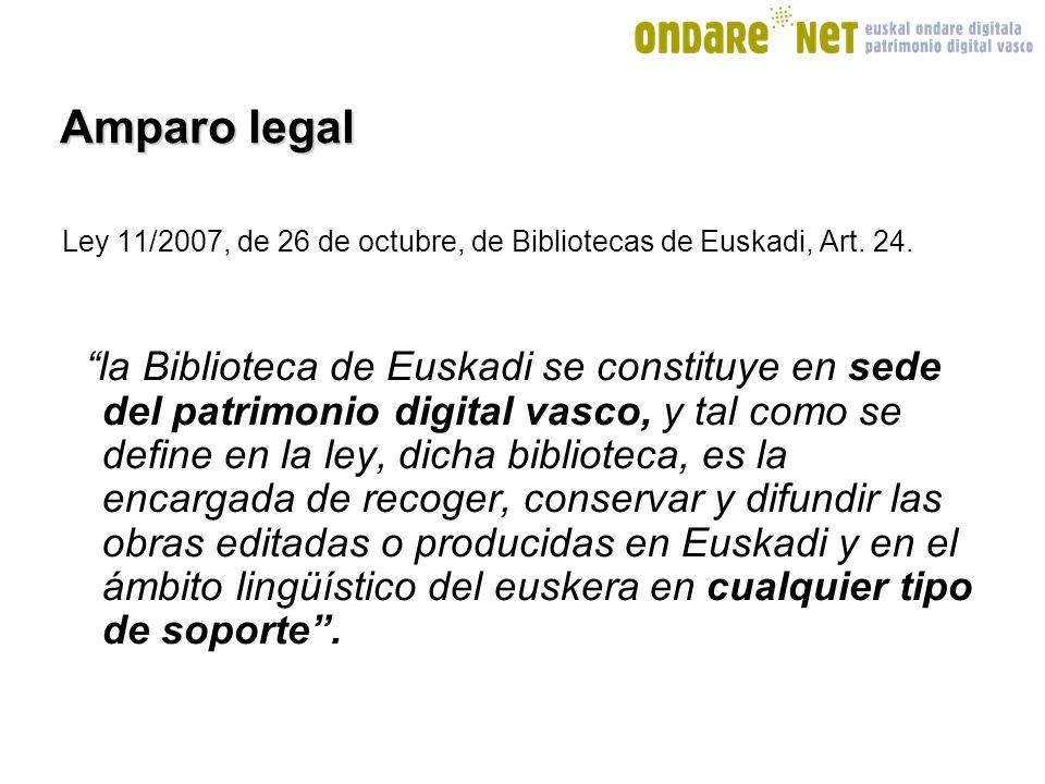 Amparo legal Ley 11/2007, de 26 de octubre, de Bibliotecas de Euskadi, Art.