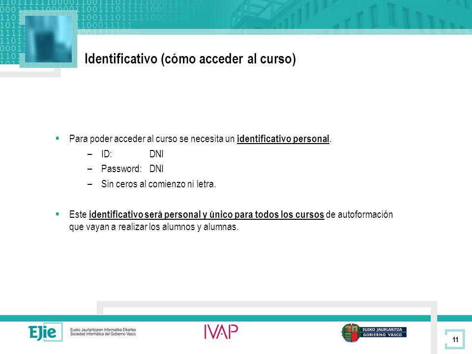 11 Identificativo (cómo acceder al curso) Para poder acceder al curso se necesita un identificativo personal.