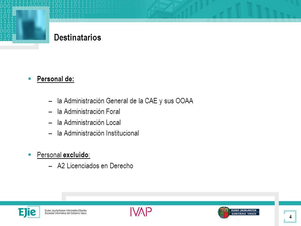 4 Destinatarios Personal de: –la Administración General de la CAE y sus OOAA –la Administración Foral –la Administración Local –la Administración Institucional Personal excluido : –A2 Licenciados en Derecho