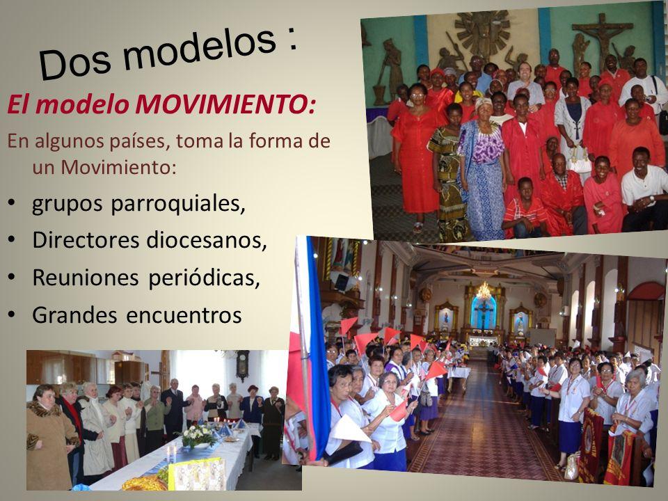 Dos modelos : El modelo MOVIMIENTO: En algunos países, toma la forma de un Movimiento: grupos parroquiales, Directores diocesanos, Reuniones periódica