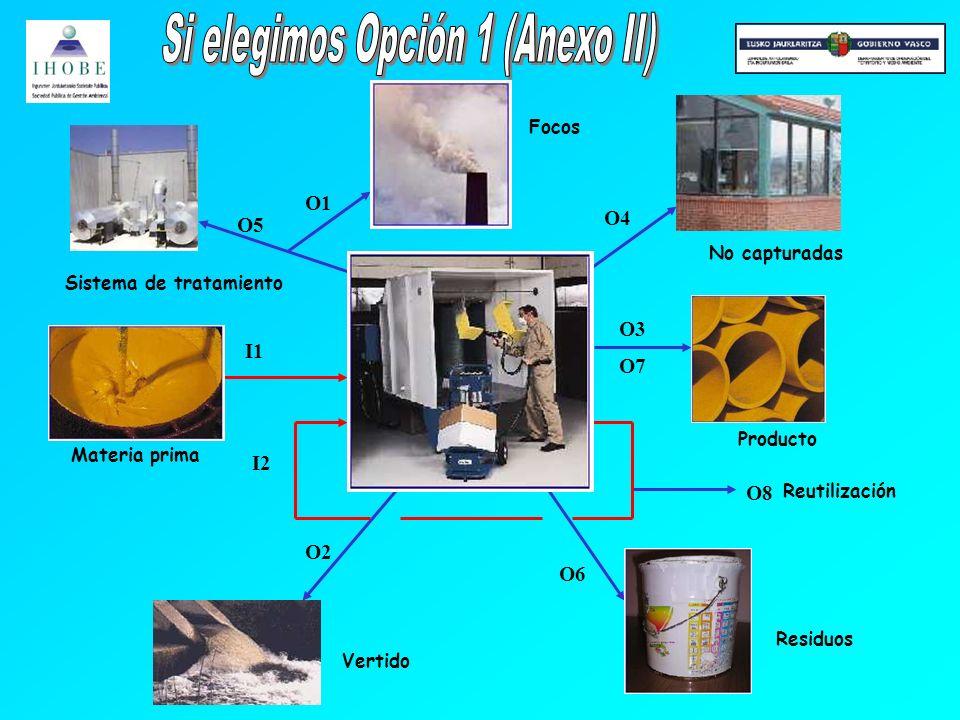 O6 O1 O3 O2 I1 O5 O7 O4 I2 O8 Materia prima Sistema de tratamiento Focos No capturadas Producto Reutilización Residuos Vertido