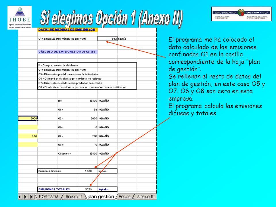 El programa me ha colocado el dato calculado de las emisiones confinadas O1 en la casilla correspondiente de la hoja plan de gestión.