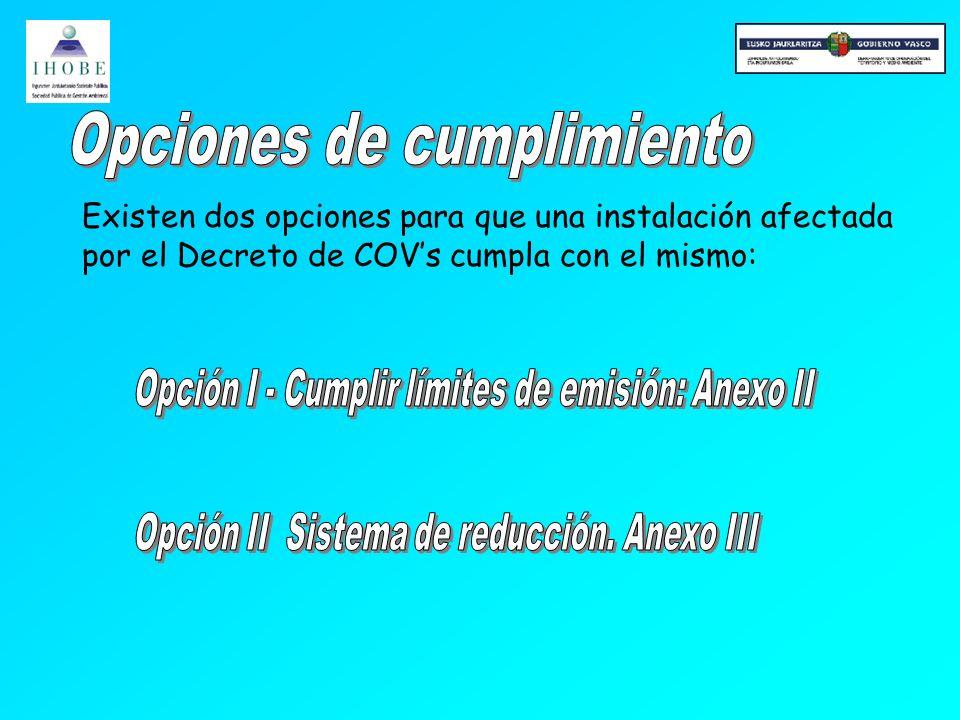 Existen dos opciones para que una instalación afectada por el Decreto de COVs cumpla con el mismo: