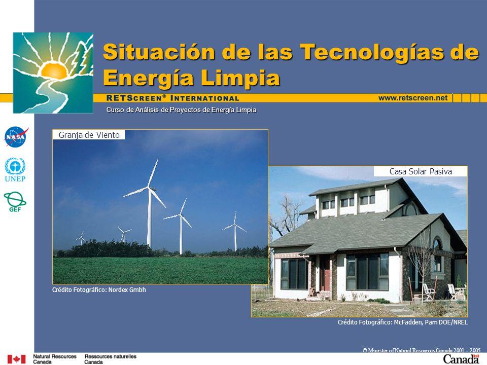 Curso de Análisis de Proyectos de Energía Limpia Situación de las Tecnologías de Energía Limpia © Minister of Natural Resources Canada 2001 – 2005. Ca