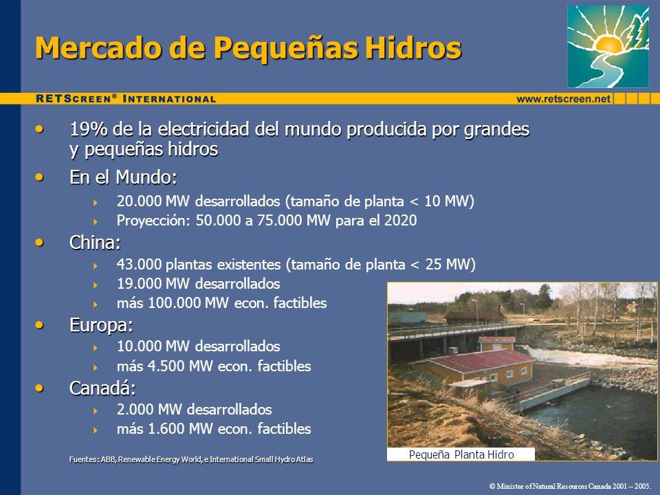 Mercado de Pequeñas Hidros 19% de la electricidad del mundo producida por grandes y pequeñas hidros 19% de la electricidad del mundo producida por gra