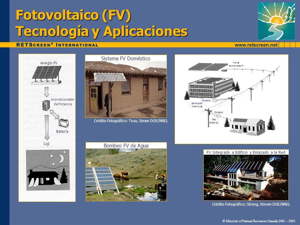 Fotovoltaico (FV) Tecnología y Aplicaciones Crédito Fotográfico: Tsuo, Simon DOE/NREL Crédito Fotográfico: Strong, Steven DOE/NREL Sistema FV Doméstic