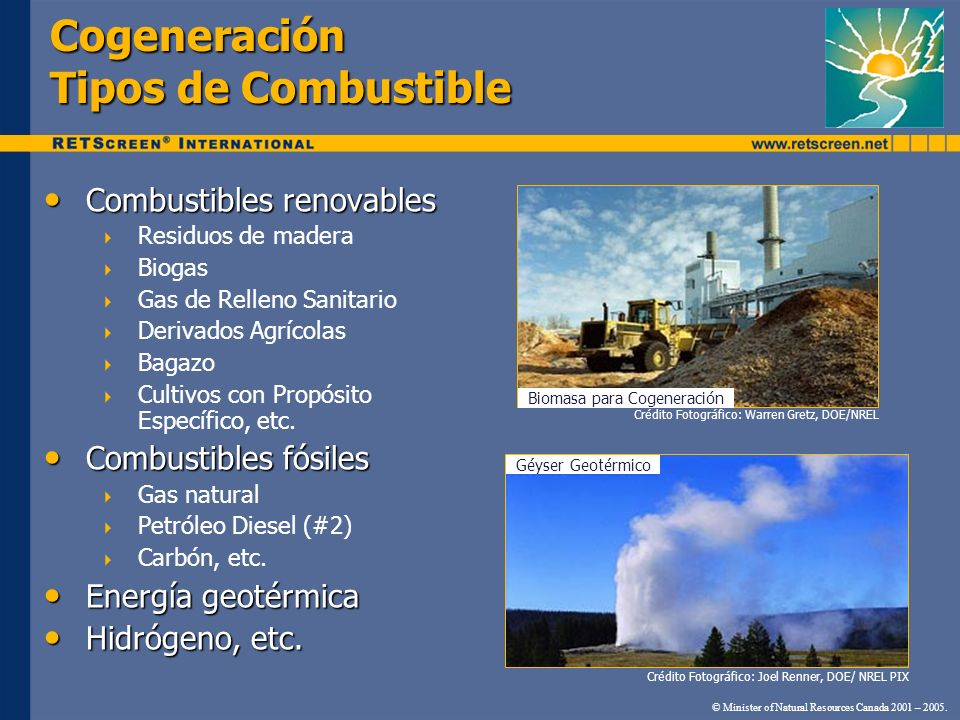 Cogeneración Tipos de Combustible © Minister of Natural Resources Canada 2001 – 2005. Combustibles renovables Combustibles renovables Residuos de made