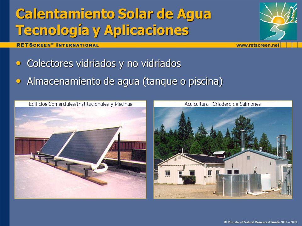 Calentamiento Solar de Agua Tecnología y Aplicaciones Colectores vidriados y no vidriados Colectores vidriados y no vidriados Almacenamiento de agua (