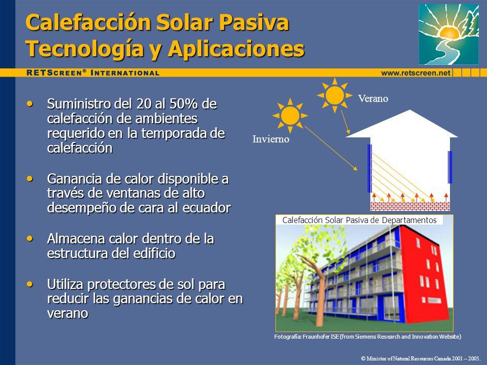 Calefacción Solar Pasiva Tecnología y Aplicaciones Suministro del 20 al 50% de calefacción de ambientes requerido en la temporada de calefacción Sumin