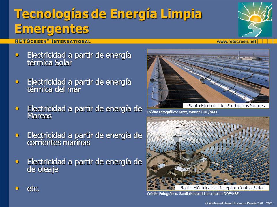 Tecnologías de Energía Limpia Emergentes Electricidad a partir de energía térmica Solar Electricidad a partir de energía térmica Solar Electricidad a