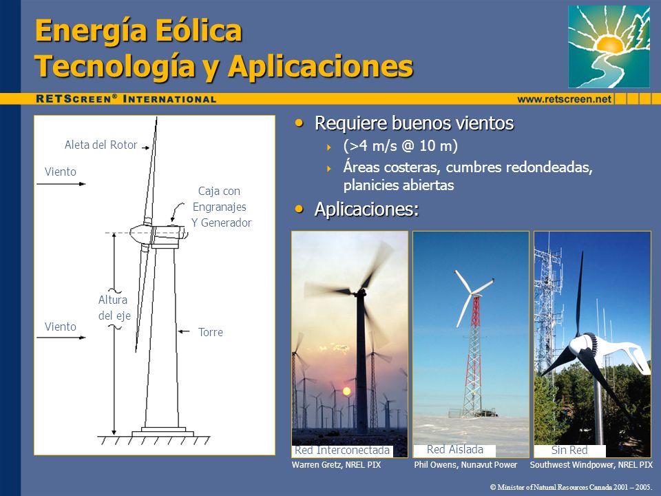Energía Eólica Tecnología y Aplicaciones Requiere buenos vientos Requiere buenos vientos (>4 m/s @ 10 m) Áreas costeras, cumbres redondeadas, planicie