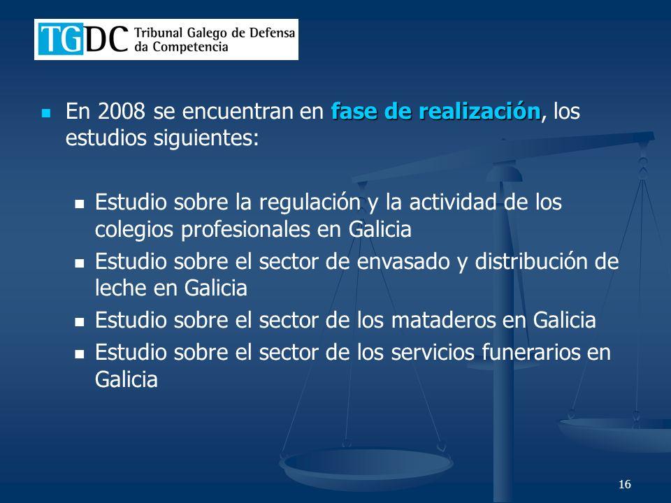 16 fase de realización En 2008 se encuentran en fase de realización, los estudios siguientes: Estudio sobre la regulación y la actividad de los colegios profesionales en Galicia Estudio sobre el sector de envasado y distribución de leche en Galicia Estudio sobre el sector de los mataderos en Galicia Estudio sobre el sector de los servicios funerarios en Galicia